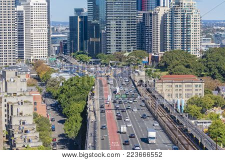 Sydney, Australia - May 16, 2017: Busy traffic of the Sydney Harbour Bridge in Australia