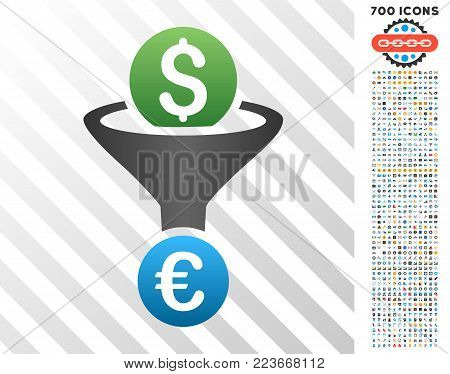 Dollar Euro Conversion Funnel gradient icon with 7 hundred bonus bitcoin mining and blockchain icons. Vector illustration style is flat iconic symbols designed for blockchain apps.