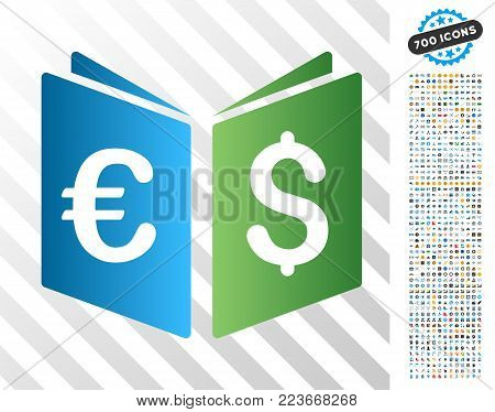 Euro Dollar Record Book gradient icon with 7 hundred bonus bitcoin mining and blockchain icons. Vector illustration style is flat iconic symbols designed for blockchain software.