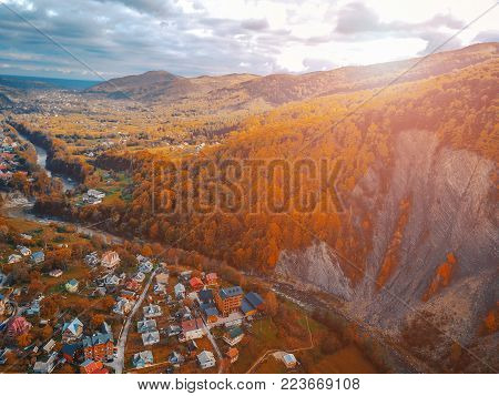small town in the countryside, aerial photography