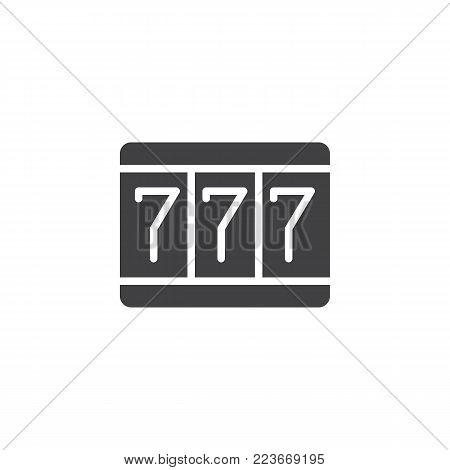 Fortune 777 icon vector, filled flat sign, solid pictogram isolated on white. Triple sevens symbol, logo illustration.