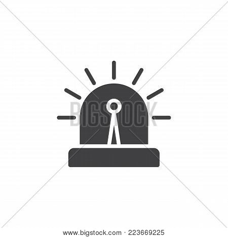 Flasher alarm light icon vector, filled flat sign, solid pictogram isolated on white. Security and surveillance system symbol, logo illustration.