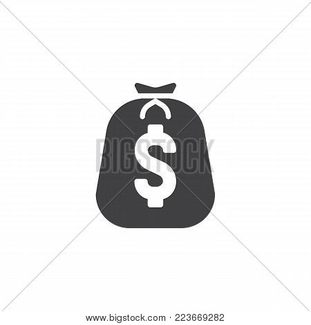 Big Bag of Coins icon vector, filled flat sign, solid pictogram isolated on white. Dollar money bag symbol, logo illustration.