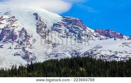 The magnificent and mystical Mount Rainier located in Washington State.