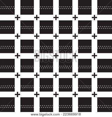 black plus sign on white grid line pattern white plus sign black background vector illustration image