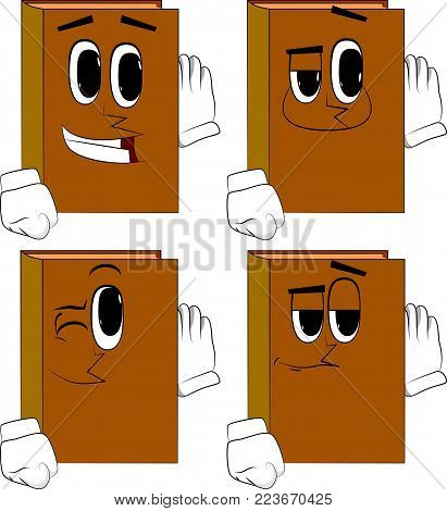 Books holds hand at his ear, listening. Cartoon book collection with happy faces. Expressions vector set.