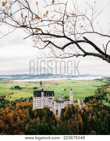 Neuschwanstein castle in colorful autumn day in Bavaria, Germany