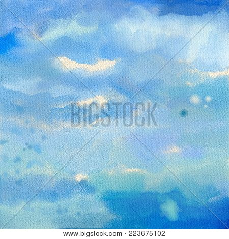 Watercolor sky digital painting. Abstract acrylic or watercolor painted background on textured paper