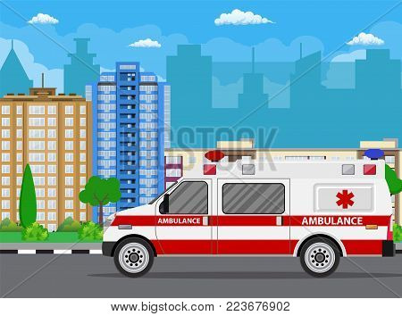 Ambulance car. City landscape with skyscrapers.Hospital transport medical care clinic.Urgency and emergency service vehicle. Vector illustration in flat style