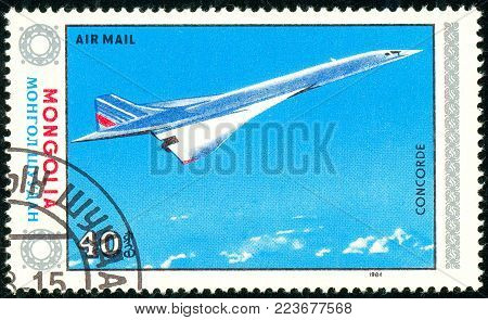 Ukraine - circa 2018: A postage stamp printed in Mongolia show aircraft Concorde. Series: Airplanes. Circa 1984