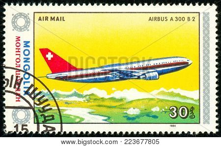 Ukraine - circa 2018: A postage stamp printed in Mongolia show aircraft Airbus A-300. Series: Airplanes. Circa 1984