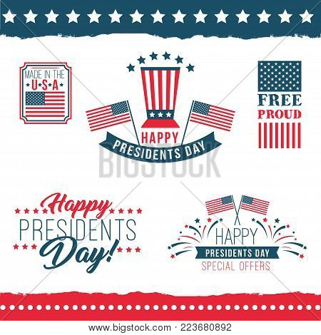 Happy presidents day labels. United States federal holiday vintage posters, festive country political third Monday in February. Vector flat style cartoon illustration isolated on white background