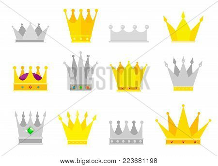 Collection of crown awards for winners, champions, leadership. Royal king, queen, princess crowns. Set of icons in a flat style on a white background.