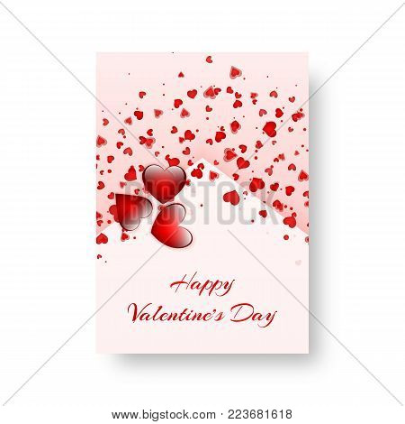 St. Valentine's Day card with love background and falling red hearts. Vector illustration