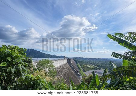 Beautiful Khun Dan Prakarn Chon Dam , the largest and longest roller compacted concrete (RCC) dam in the world , Nakhon Nayok , Thailand