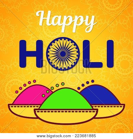 Holi festival of spring and bright colors in India. Traditional colored powder Gulal and congratulatory inscription with a symbolic wheel replacing the letter O. Flat icon vector design.