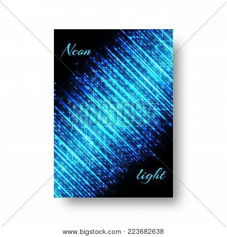 Rectangular invitation template for a Christmas party with neon lights of blue light on a black background