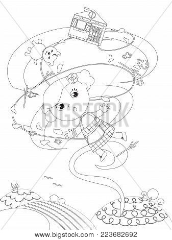 The wizard fairytale.Little girl is flying in the wind twister with her dog and home, coloring vector