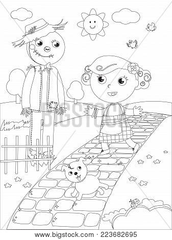 The wizard fairytale. Little girl meets the Scarecrow on the yellow brick road, coloring vector
