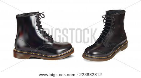 Black men's glossy patent leather boots. Vector photorealistic illustration of a white background.