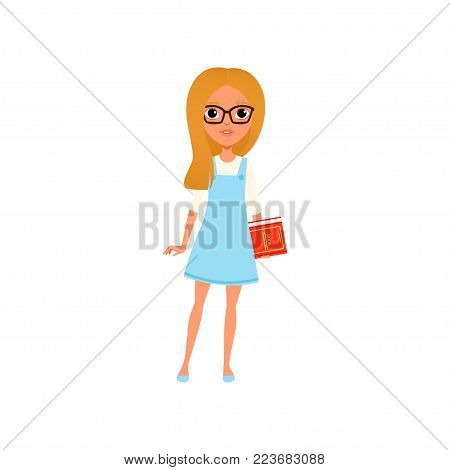 Cartoon illustration of smart teen girl in glasses holding book in hand. Female character with blond hair wearing white blouse and blue dress. Child with smiling face expression. Isolated flat vector.