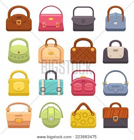 Woman Fashion Bags Icons Set. Vector illustration