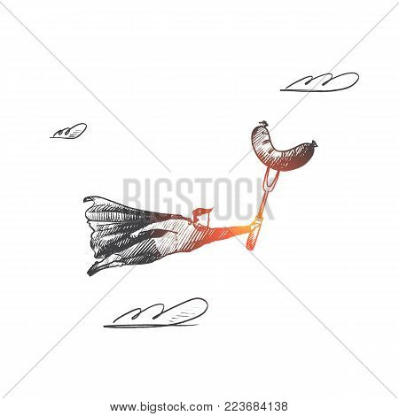 Barbecue party concept. Hand drawn superhero with sausage on fork. Flying hero brings barbequed food for party isolated vector illustration.