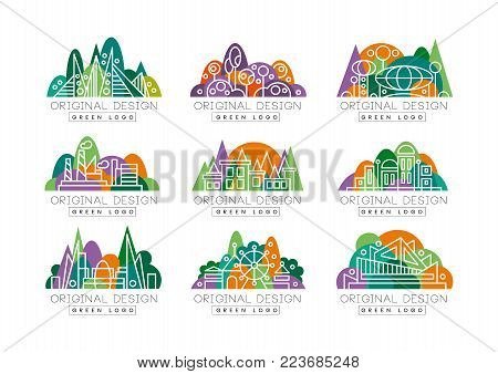 Green logos collection. Abstract icons with amusement park, factory, city view, theater, and buildings against forest background. Environment concept. Linear vector illustration isolated on white.