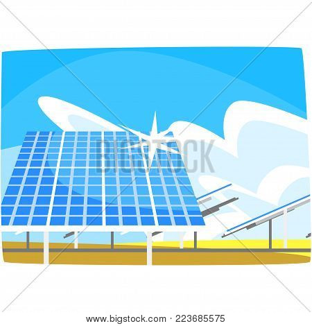 Solar panel, production of energy from the sun, ecological energy producing station, renewable resources horizontal vector illustration on a white background