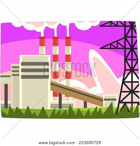 Electricity generation plant, fossil fuel power station horizontal vector illustration on a white background