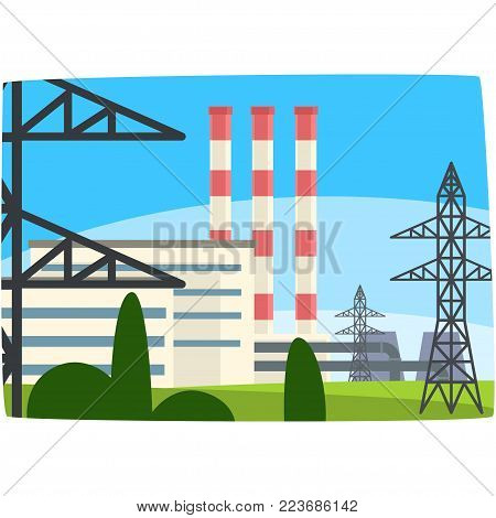 Traditional energy generation power station, fossil fuel power plant horizontal vector illustration on a white background