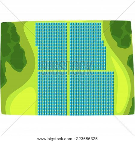 Solar panels, view from above, production of energy from the sun, ecological energy producing station horizontal vector illustration on a white background