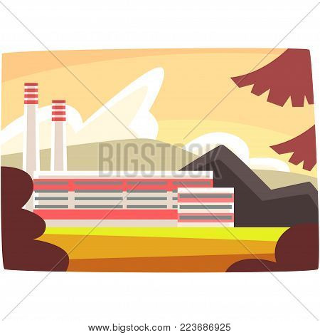 Fossil fuel plant, energy producing power station horizontal vector illustration on a white background