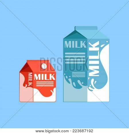 Carton boxes of milk, fresh and healthy dairy product vector illustration on a light blue background