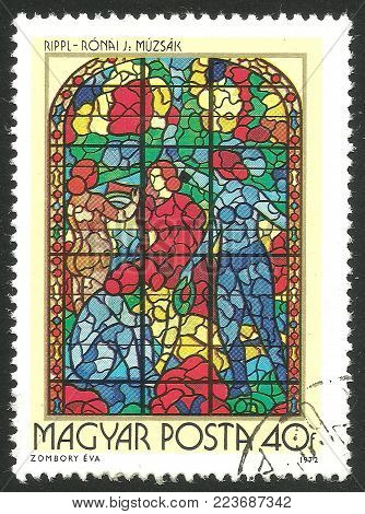 Hungary - circa 1972: Stamp printed by Hungary, Color edition on Art, shows Stained glass Windows The Muses by Jozsef Rippl Ronai, circa 1972
