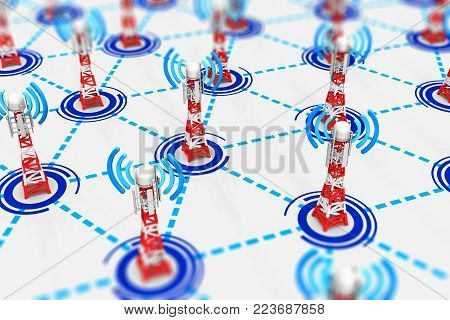 3D render illustration of the group of telecommunication mobile base station towers connected into network infrastructure