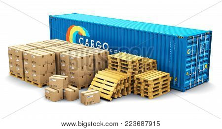 3D render illustration of the blue metal 40 ft cargo container and stacks of cardboard boxes on wooden shipping pallets isolated on white background