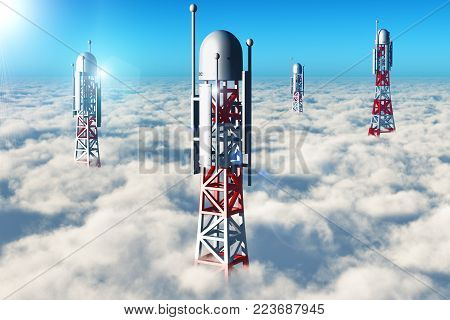 3D render illustration of the group of telecommunication mobile base station towers in the blue sky above the clouds