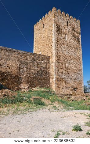 The keep tower of Mertola Castle with the part of the southeast wall. Mertola. Portugal