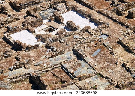 The view of an excavations of the Roman forum - the monument set of ancient Myrtilis city. Mertola.Portugal