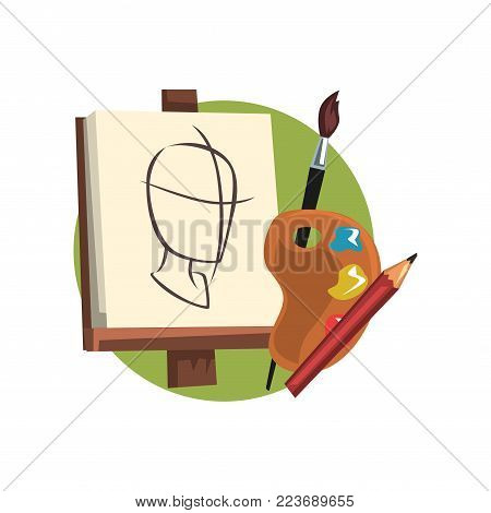 Symbols of the artist profession, artists supplies cartoon vector Illustration on a white background