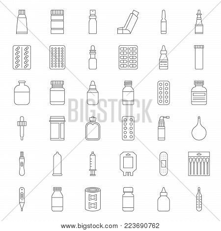 Pharmacy item, such as medicine, antibiotic, plaster, cough syrup, nasal spray, condom, dropper, cotton bud, syringe, painkiller, mouth spray, antiseptic cream, thin line icon