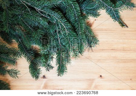 Horizontal wooden Surface with conifer branches for background or banner