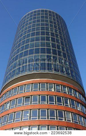 Hamburg, Germany - May 14, 2011: Hanseatic trade center. Modern building in Speicherstadt district in Hamburg.