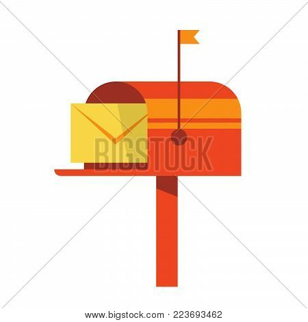 Retro vinatge styed mail box.  Flat Style Vector Illustration . UI UX Design perfect for mail subscription.