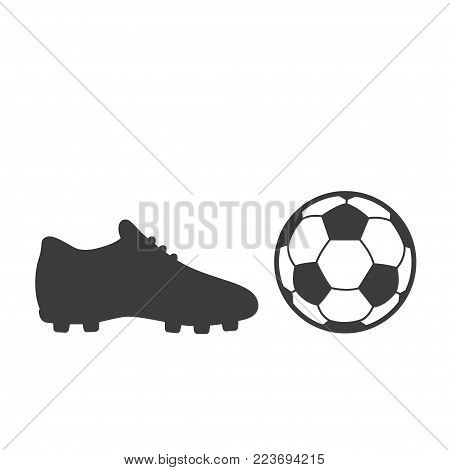 Soccer footwear and ball icon on white background. Bleck Vector illustration football boots.