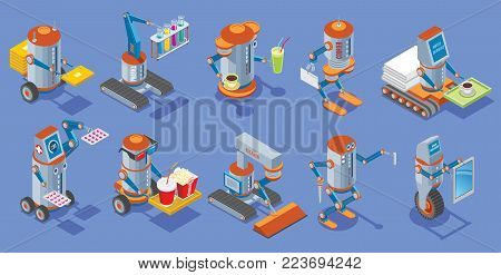 Isometric robots collection with postman medical bar courier hotel service cinema cleaner builder housework mechanical robotic assistants isolated vector illustration