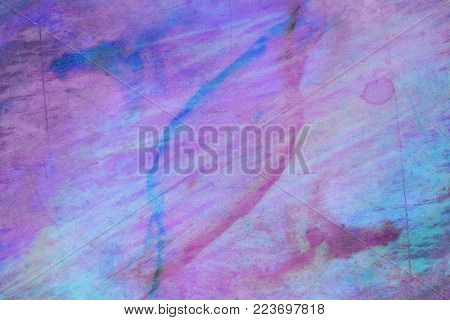 blue paint and stain on the artist's palette