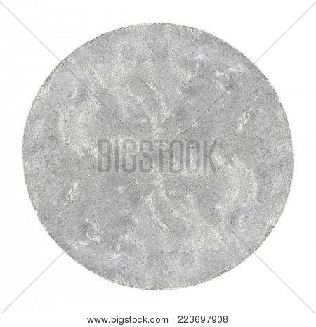 mauled by a coin made of white metal, isolated on white