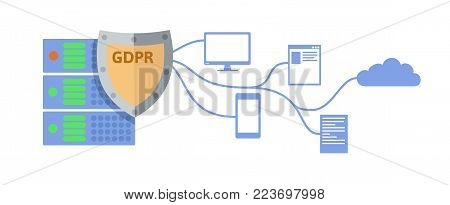 GDPR concept illustration. General Data Protection Regulation. The protection of personal data. Server and shield icon. Vector, isolated on white background.